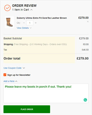 Leave Note on Checkout Screenshot